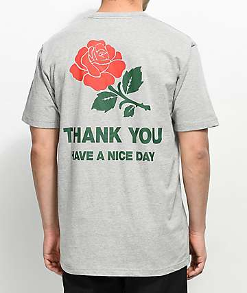 Chinatown Market Thank You Rose Grey T-Shirt