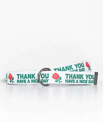 Chinatown Market Thank You Rose White Web Belt