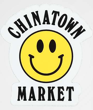 Chinatown Market Yellow Smiley Sticker