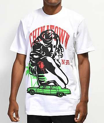 Chinatown Market x Nevermade Burning Bills camiseta blanca