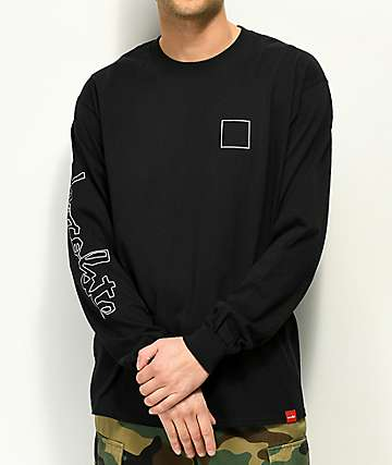Chocolate Line Chunk Square Black Long Sleeve T-Shirt