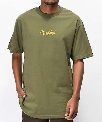 Chocolate Script camiseta verde militar