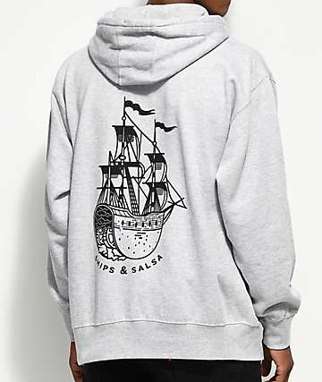 Chomp Ships And Salsa Grey Fleece Hoodie