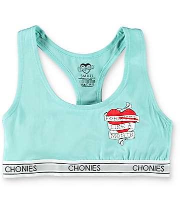 Chonies Forever Heart sujetador deportivo en azul claro