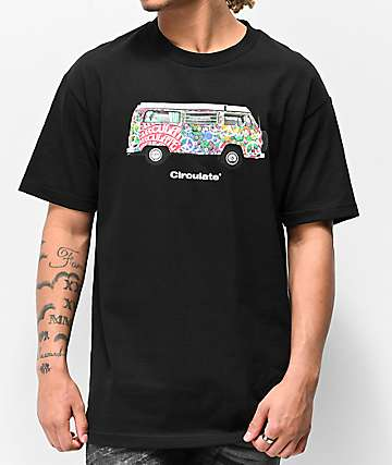 Circulate Hippie Bus Black T-Shirt