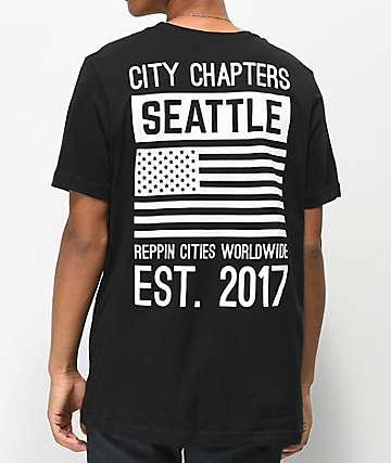 City Chapters Seattle Stack Black T-Shirt