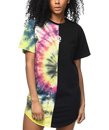 Civil Baddies Tour Tie Dye Split Seam Drop T-Shirt