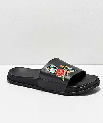 Civil Floral Black Slide Sandals
