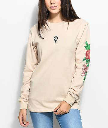 Civil Floral Tan Long Sleeve T-Shirt