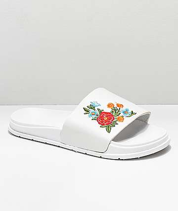 Civil Floral White Slide Sandals