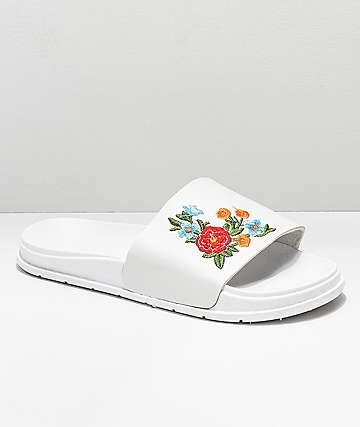 Civil Floral White Slide Sandals