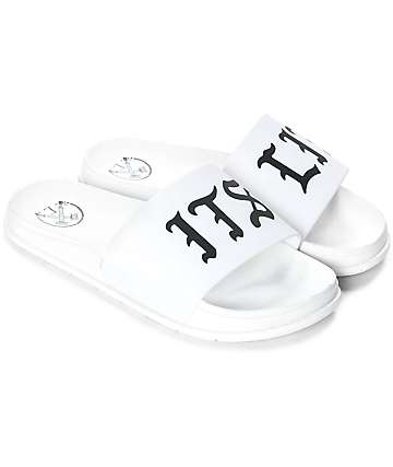 Civil It's Lit White Slide Sandals