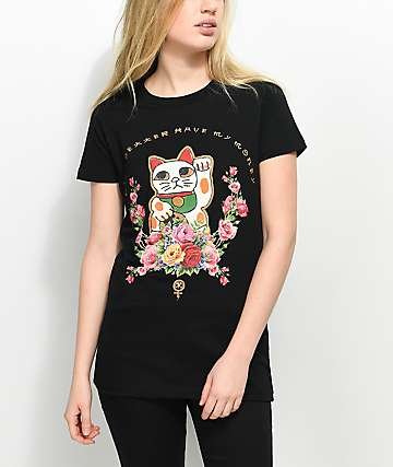Civil Money Cat Black T-Shirt