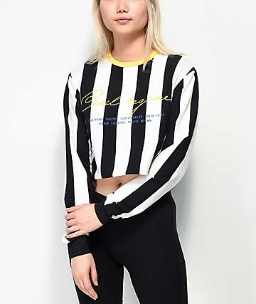 983a1a8598d5 Civil Striped Black, White and Yellow Long Sleeve Crop T-Shirt