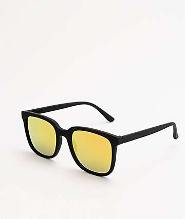 Classic Matte Black & Orange Mirror Sunglasses