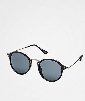 Classic Round Black, Gold & Smoke Sunglasses