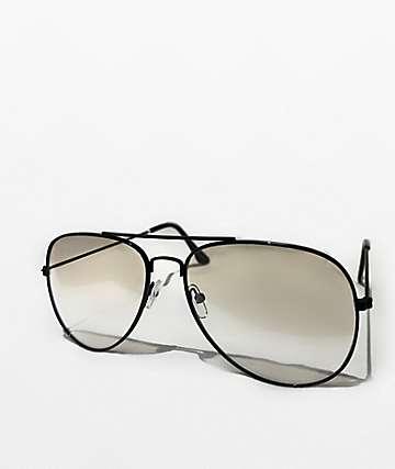 Clear & Black Aviator Glasses