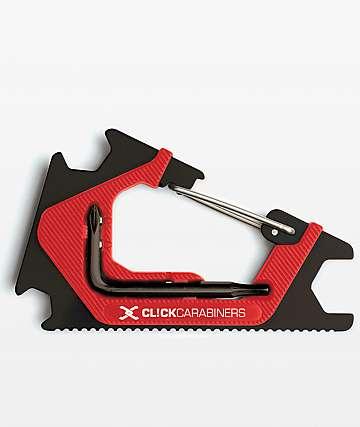 Click Carabiners Black & Red Carabineer Skateboard Tool