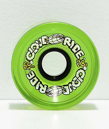 Cloud Ride Clear Neon Green 69mm 78a Longboard Wheels