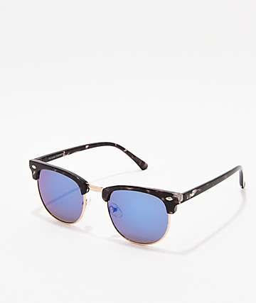 Clubmaster Black, Gold, & Blue Sunglasses