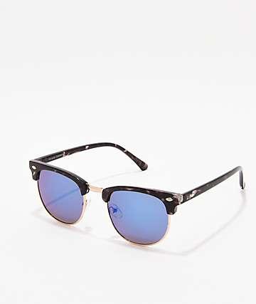 Clubmaster Black, Gold, & Blue Sunglasses