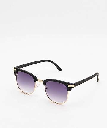 Clubmaster Black & Gold Rubber Sunglasses