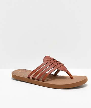 Cobian Aloha Multi-Strap Brown Sandals