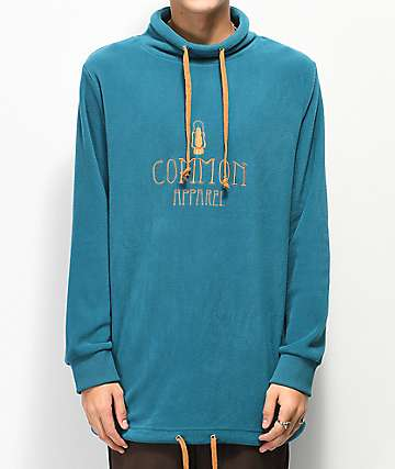 Common Lantern Turquoise Mock Neck Fleece Sweatshirt