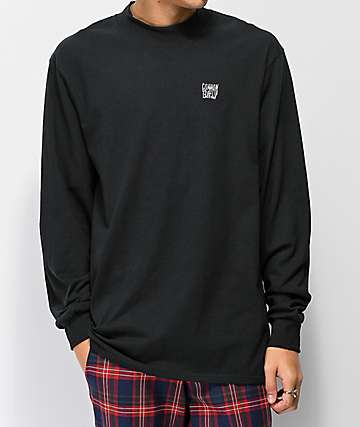 Common Mock Neck Black Long Sleeve T-Shirt