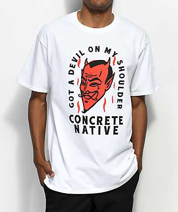 Concrete Native Devil On My Shoulder White T-Shirt
