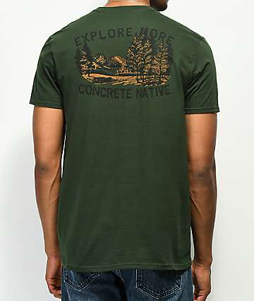 Concrete Native Explore Woods Green T-Shirt
