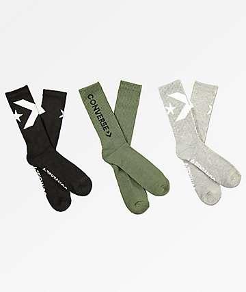 Converse Big Logo paquete de 3 calcetines en gris, oliva y negro