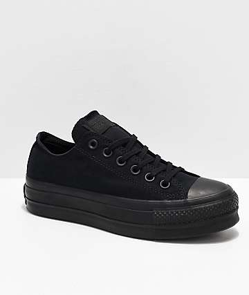 143e5e83a55e25 Converse CTAS Clean Lift Ox Black Platform Shoes
