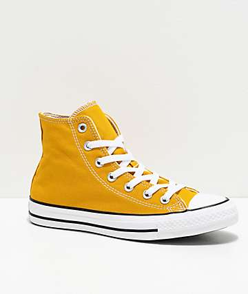 Converse CTAS Hi Gold & White Shoes