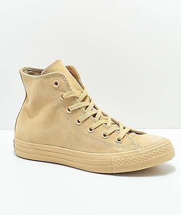 Converse CTAS Hi Mono Tan Suede Shoes