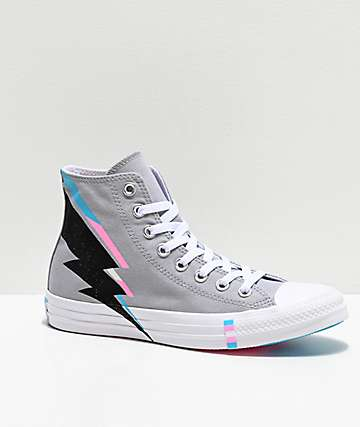 Converse CTAS Hi Pride Wolf Grey, Black, Blue & Pink Shoes