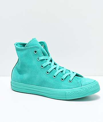 Converse CTAS Hi zapatos de ante verde azulado