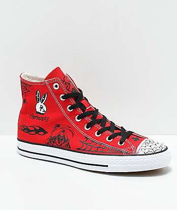 Converse CTAS Pro Hi Sean Pablo Red Skate Shoes