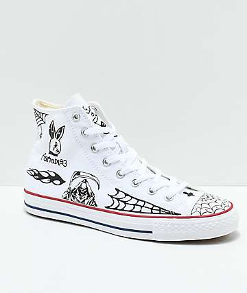 Converse CTAS Pro Hi Sean Pablo White Skate Shoes