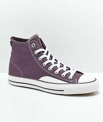 Converse CTAS Pro Hi zapatos de skate de lienzo morado y blanco