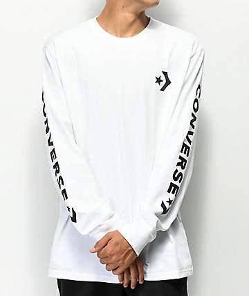 Converse Chevron Star White Long Sleeve T-Shirt