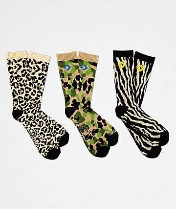 Converse Classic Star Chevron Animal Print 3 Pack Crew Socks