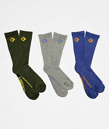 Converse Classic Star Chevron Green, Grey & Blue 3 Pack Crew Socks