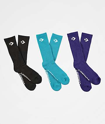 Converse Classic Star Chevron Orchid Teal, Black & Purple 3 Pack Crew Socks