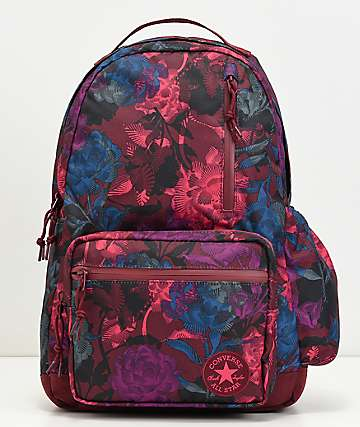Converse Go Floral Burgundy Backpack