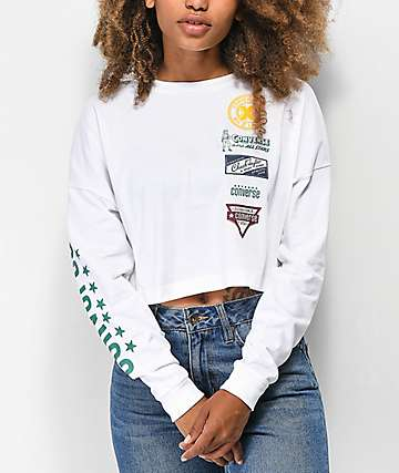 Converse Heritage Patch White Crop Long Sleeve T-Shirt