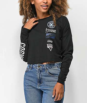 Converse Heritage Patch camiseta corta de manga larga negra