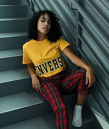 Converse Heritage Wordmark Easy Crop Gold T-Shirt
