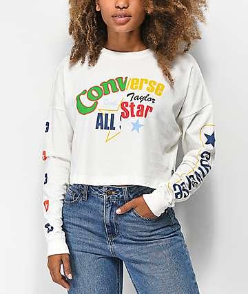 Converse Heritage camiseta corta de manga larga blanca