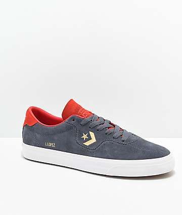 Converse Louie Lopez Pro Sharkskin, White & Red Skate Shoes